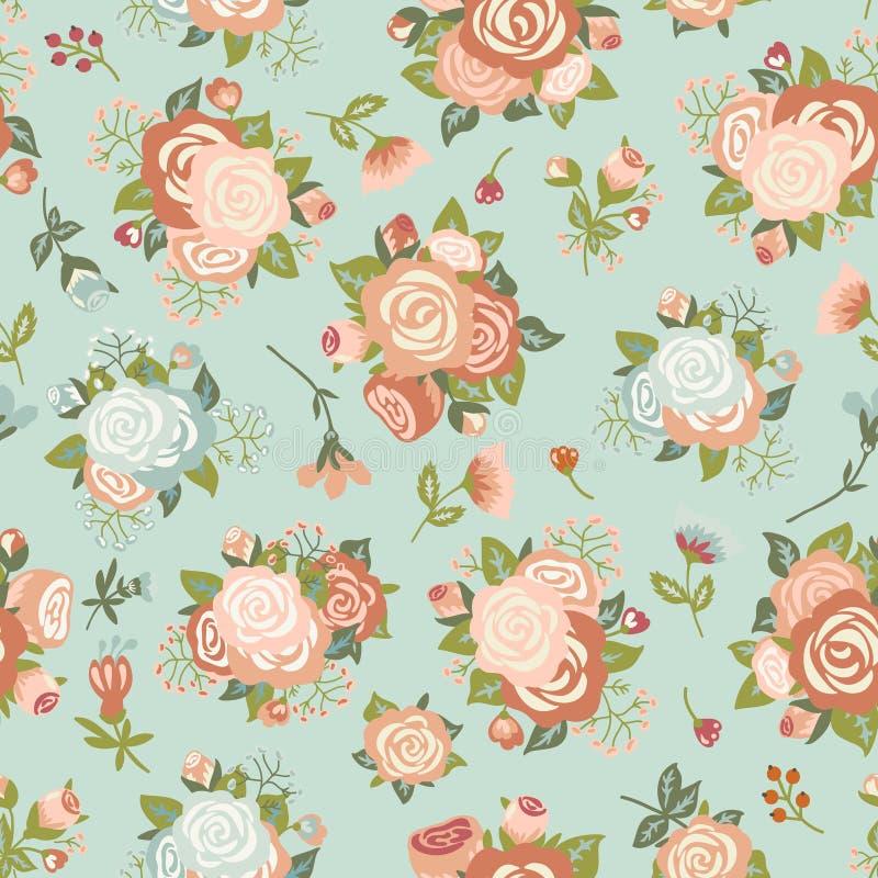 Modèle sans couture avec un bouquet des roses illustration de vecteur