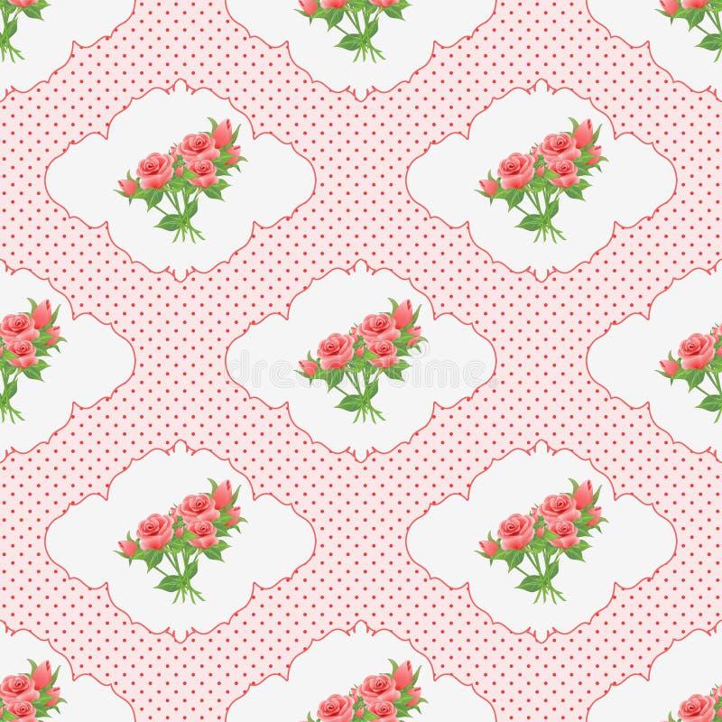 Modèle sans couture avec un bouquet des roses dans les points de vignette et de polka illustration libre de droits