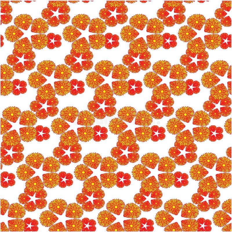 Modèle sans couture avec un petit des fleurs rouges et jaunes illustration libre de droits