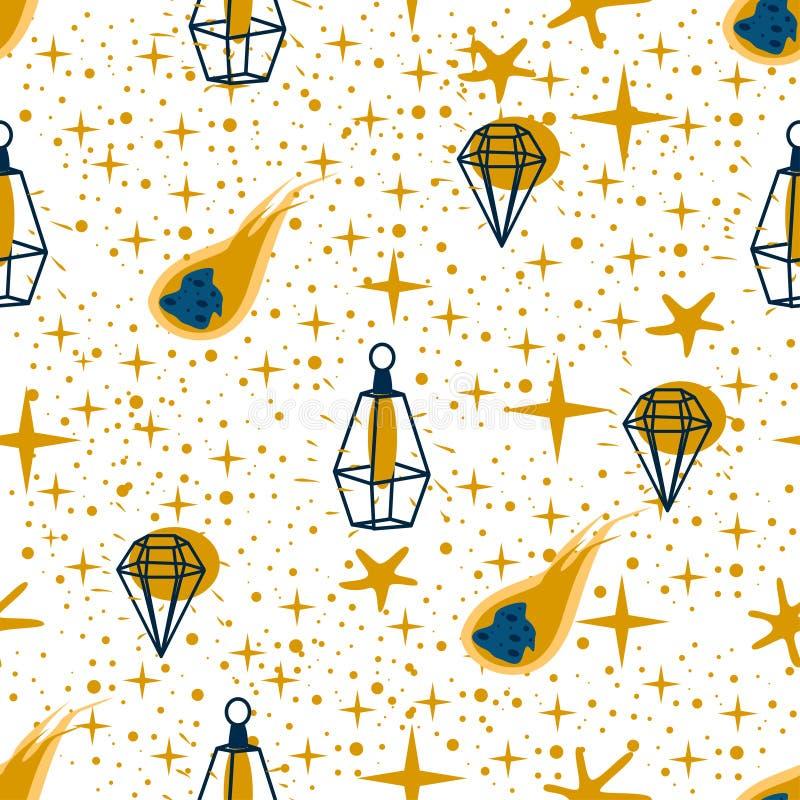 Modèle sans couture avec une comète d'étoiles de lampe sur un fond blanc - illustration de vecteur, ENV illustration stock