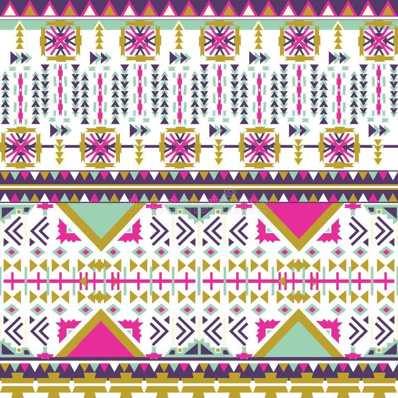 Modèle sans couture aztèque coloré sur le fond blanc Texture géométrique abstraite ethnique Tissu tiré par la main de Navajo Modè illustration libre de droits