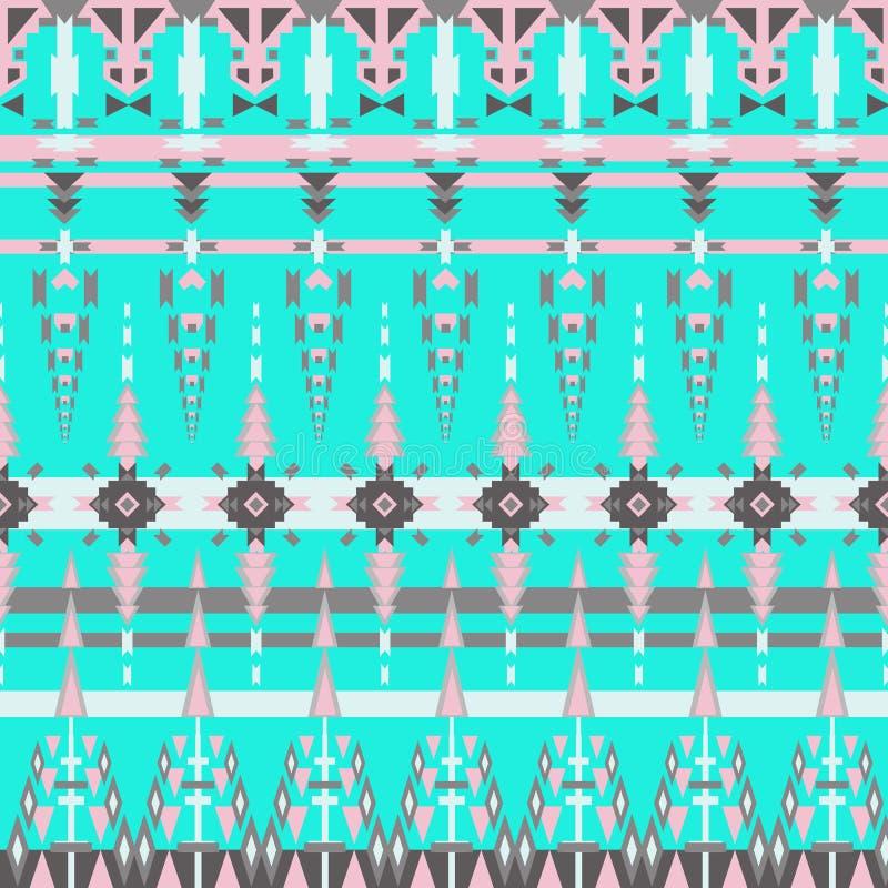 Modèle sans couture aztèque coloré sur le fond bleu Texture géométrique abstraite ethnique Tissu tiré par la main de Navajo Modèl illustration stock