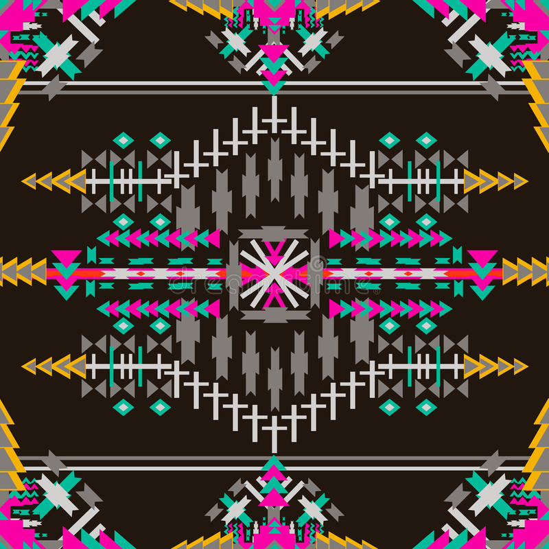 Modèle sans couture aztèque coloré sur le fond foncé Texture géométrique abstraite ethnique Tissu tiré par la main de Navajo peut illustration de vecteur