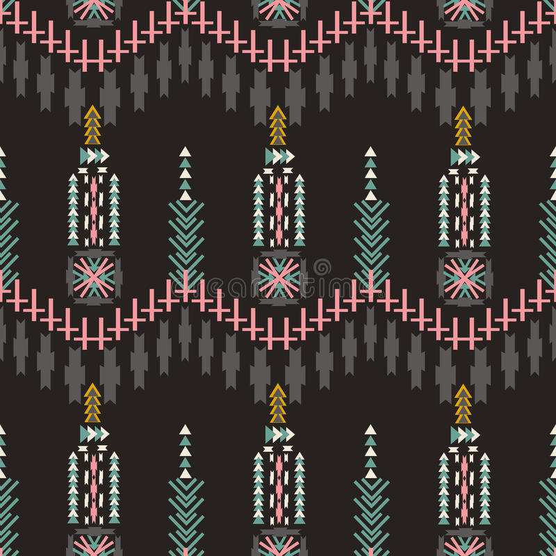 Modèle sans couture aztèque de Colorfull sur le fond foncé Texture géométrique abstraite ethnique Tissu tiré par la main de Navaj illustration libre de droits