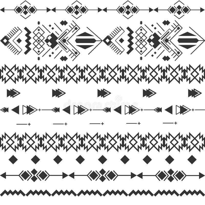 Modèle sans couture aztèque de Navajo noir et blanc de vecteur illustration de vecteur