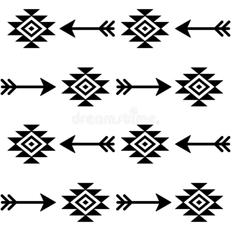 Modèle sans couture aztèque de vecteur avec des flèches, conception indienne de tissu de Navajo, art tribal illustration stock