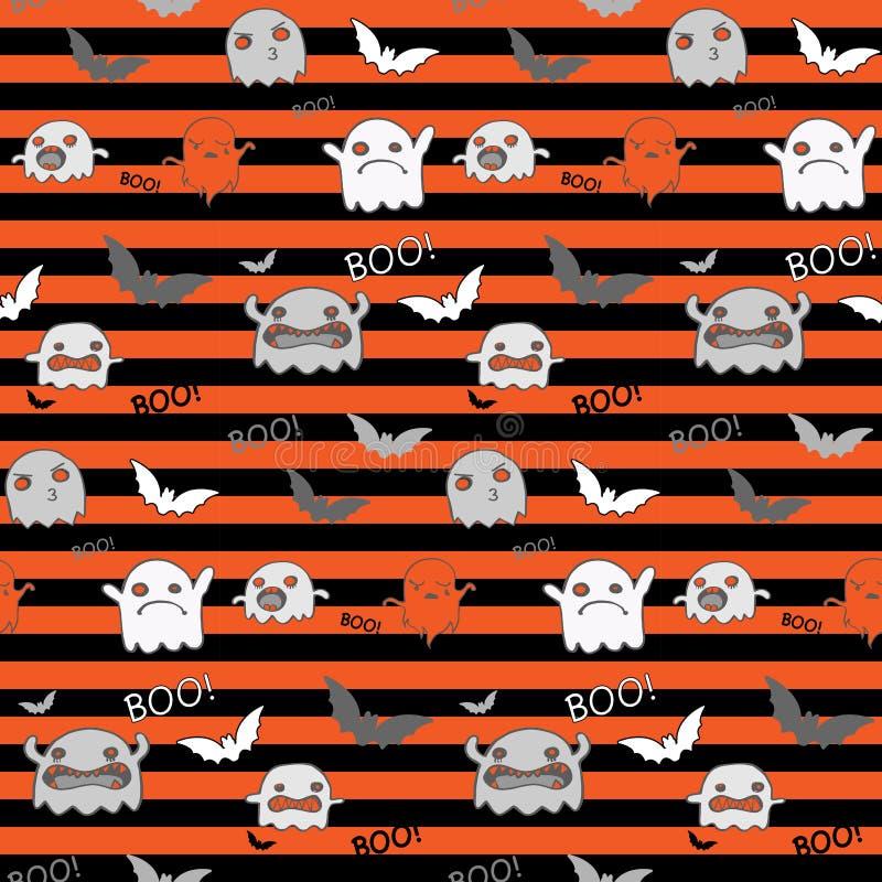 Modèle sans couture Backg de potiron de batte de Halloween Ghost illustration de vecteur