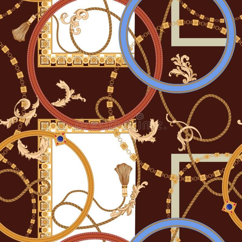 Modèle sans couture baroque avec des chaînes, des gemmes et des cordes Correction de vecteur pour la copie, tissu, écharpe illustration libre de droits