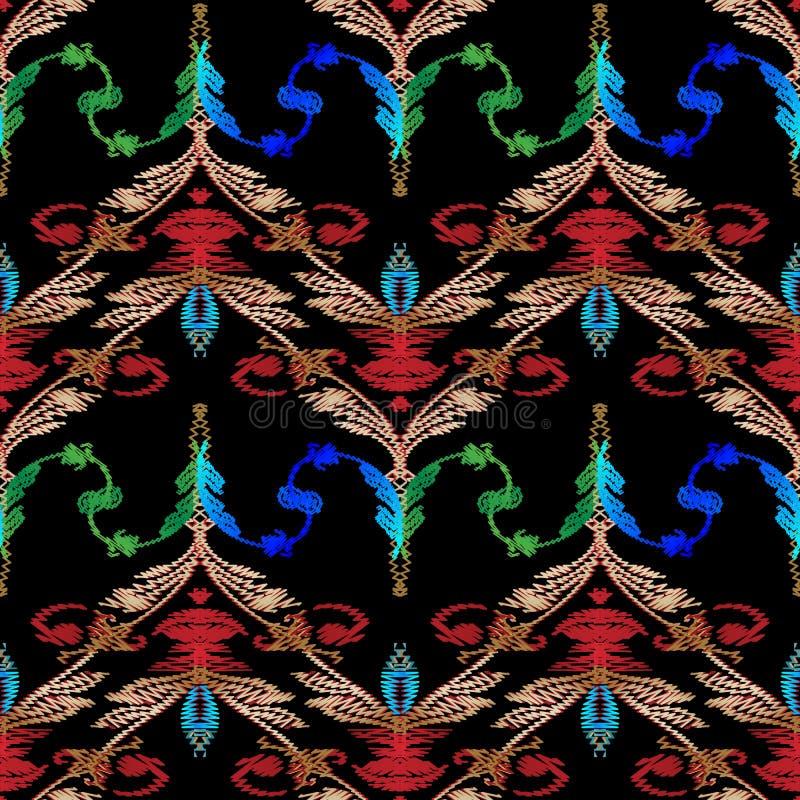 Modèle sans couture baroque de broderie Vecteur floral de damassé tapest illustration de vecteur