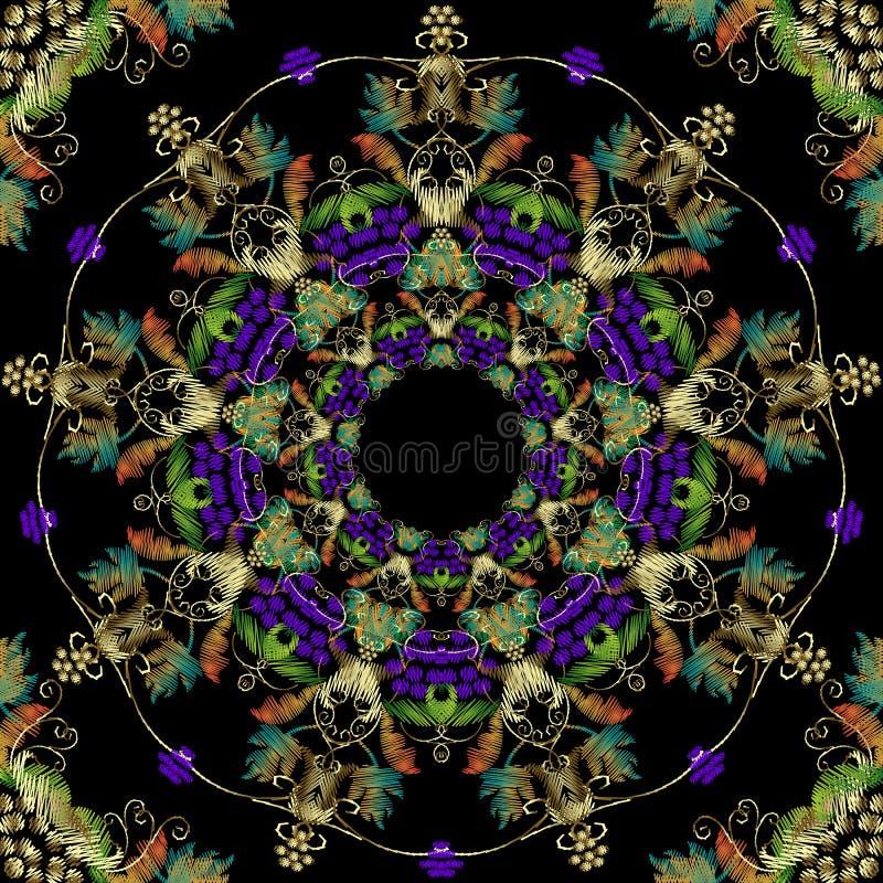 Modèle sans couture baroque de cru de raisins de broderie Fond ornemental de baies de tapisserie de vecteur Contexte grunge de ma illustration libre de droits