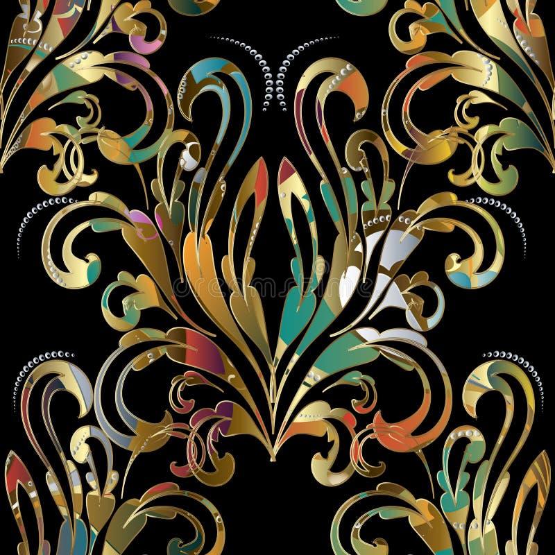 Modèle sans couture baroque de damassé Backgrou floral coloré de vecteur illustration libre de droits