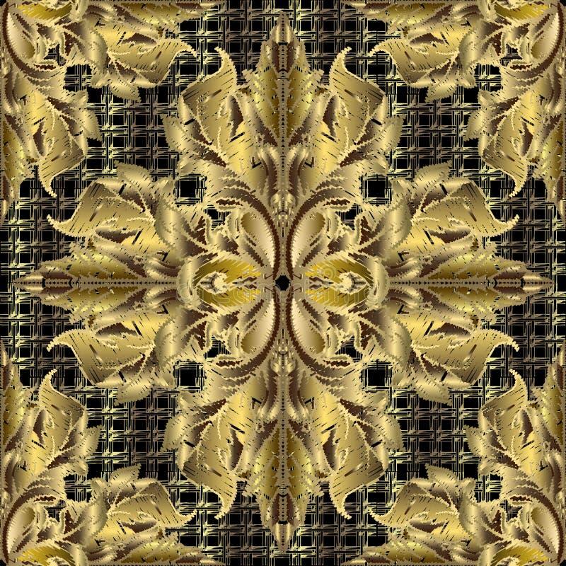 Modèle sans couture baroque de l'or 3d de broderie Fond texturisé de grille de vecteur Ornement floral de cru de tapisserie baroq illustration stock