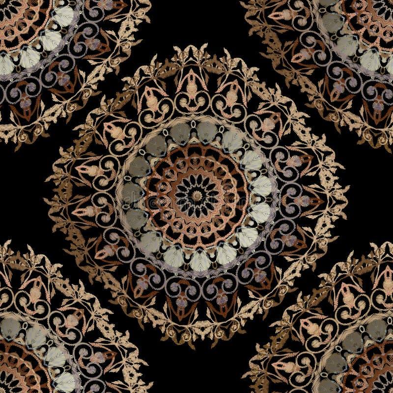 Modèle sans couture baroque de mandalas de broderie Ornement floral de tapisserie colorée de vecteur Texture grunge Cru fleuri br illustration libre de droits