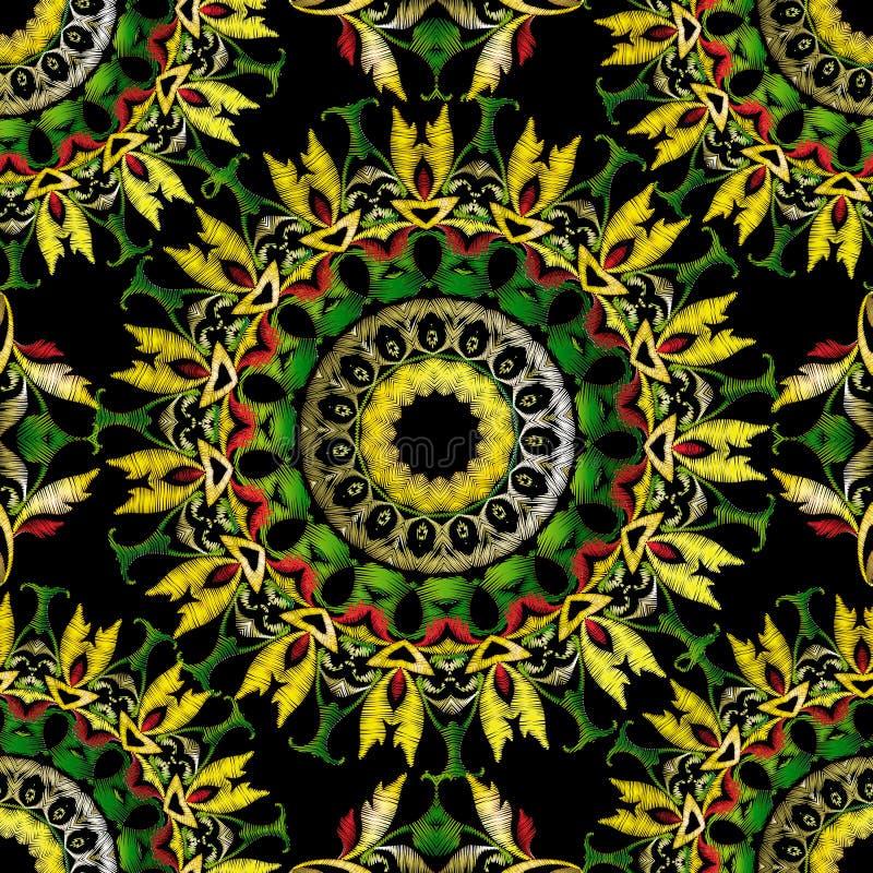 Modèle sans couture baroque de mandalas de broderie Ornement floral de tapisserie colorée de vecteur Texture grunge Cru fleuri br illustration de vecteur