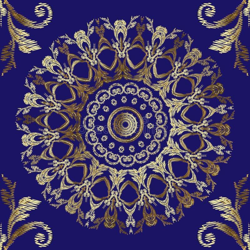 Modèle sans couture baroque de mandalas de broderie Ornement floral de tapisserie d'or de vecteur Texture grunge Cru fleuri brodé illustration libre de droits