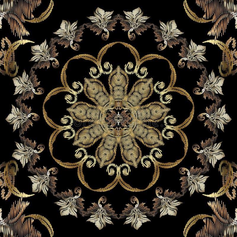 Modèle sans couture baroque floral texturisé de mandala de tapisserie Ornement rond de luxe de cru Fond victorien antique de styl illustration libre de droits