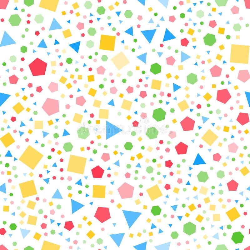 Modèle sans couture BG blanche de formes géométriques régulières illustration de vecteur