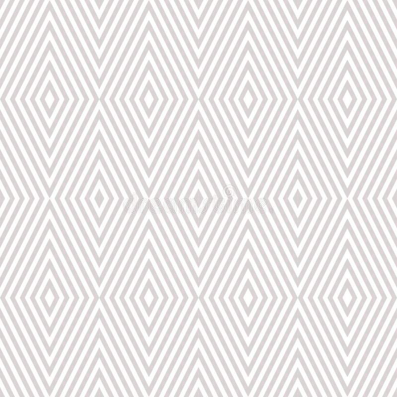 Modèle sans couture blanc et beige avec des rayures, lignes diagonales, chevron, losange illustration de vecteur