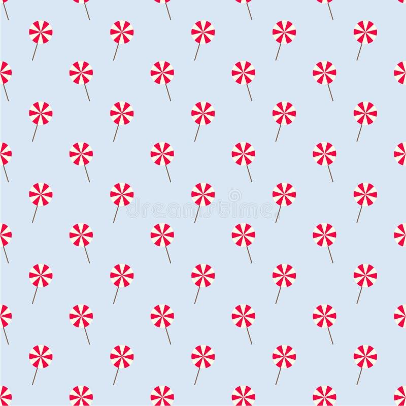 Modèle sans couture bleu-clair avec les lucettes rouges et blanches images stock