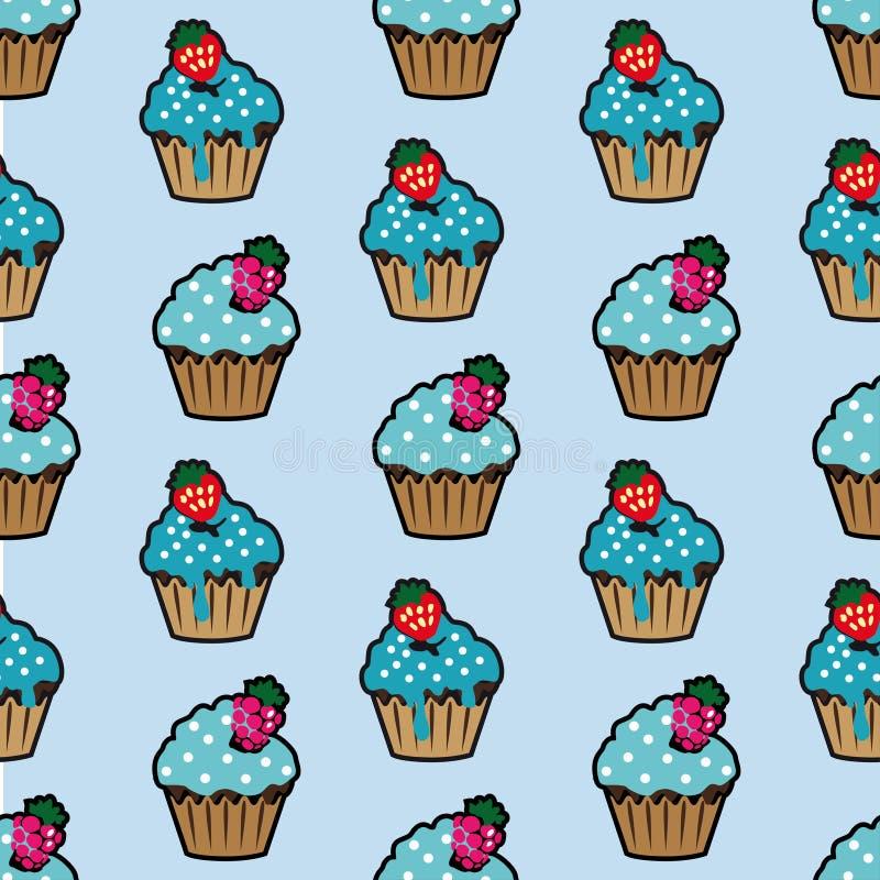 Modèle sans couture bleu de gâteau crème illustration de vecteur