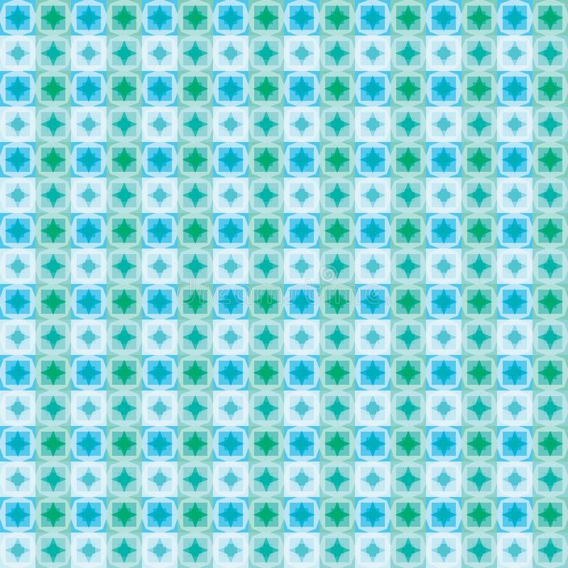 Modèle sans couture bleu de place d'étoile de couleur verte illustration libre de droits