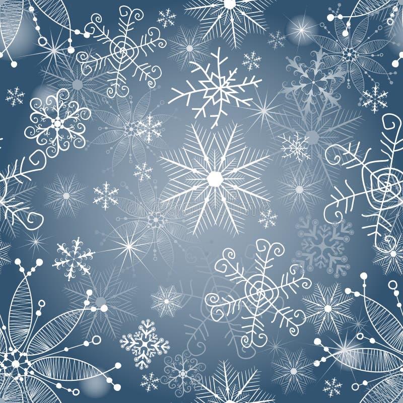 Modèle sans couture bleu et argenté sensible de Noël illustration de vecteur