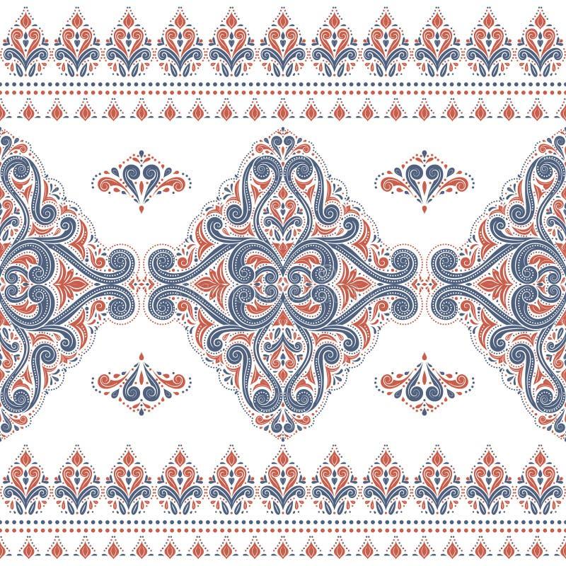 Modèle sans couture bleu et orange avec les rayures ornementales illustration de vecteur