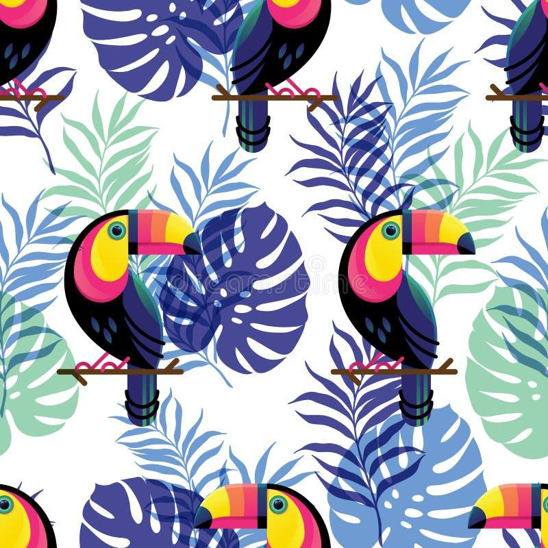 Modèle sans couture botanique de vecteur avec le toucan illustration de vecteur