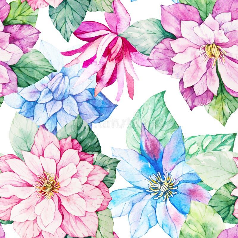 Modèle sans couture botanique floral d'aquarelle Bon pour l'impression illustration stock