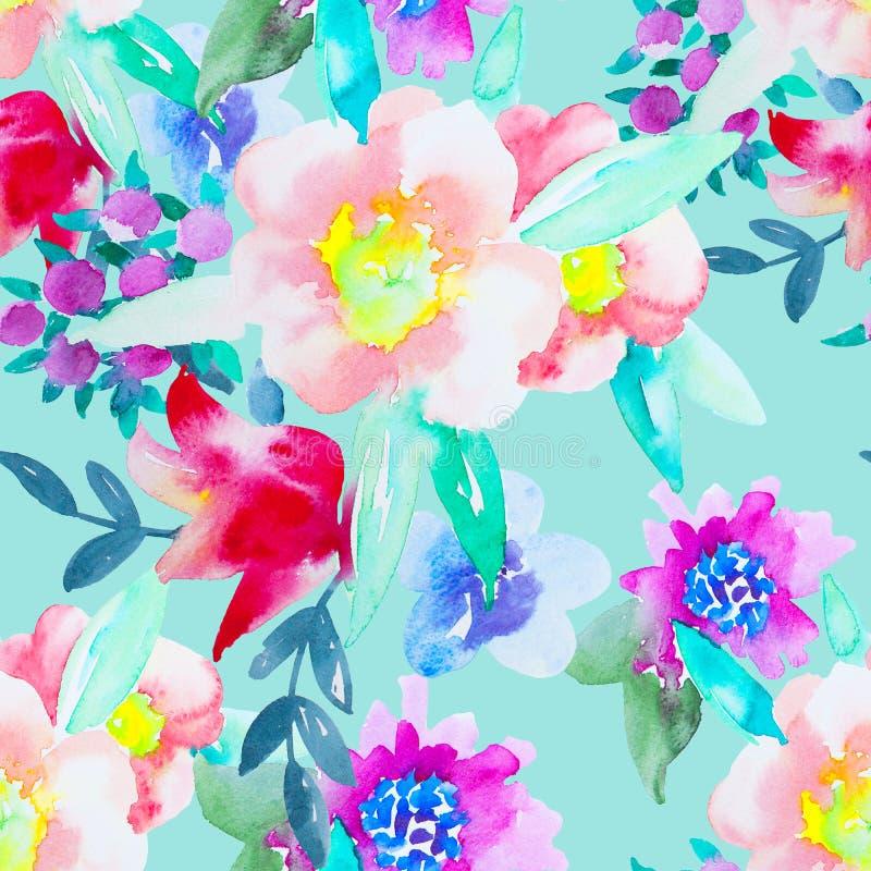 Modèle sans couture botanique floral d'aquarelle Bon pour l'impression illustration libre de droits