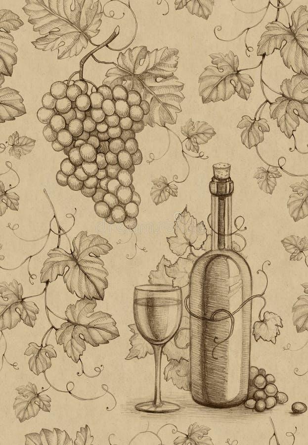Modèle sans couture. Bouteille et raisin de vin illustration stock