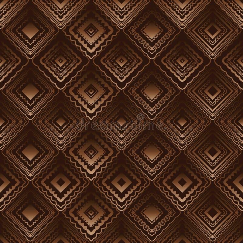 Modèle sans couture brun tribal de feuillet plein de forme de diamant illustration stock