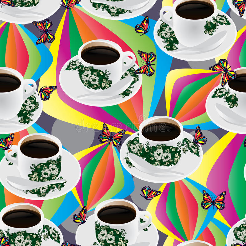 Modèle sans couture buttefly coloré de tasse de café de Nanyang illustration stock