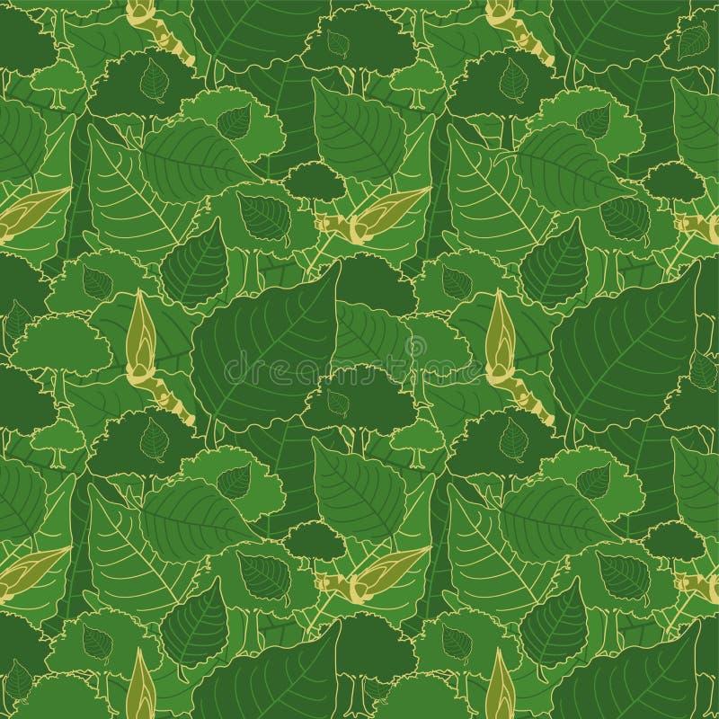 Modèle sans couture, camouflage vert des feuilles de peuplier et bourgeons pour des tissus, des papiers peints, des nappes, des c illustration libre de droits