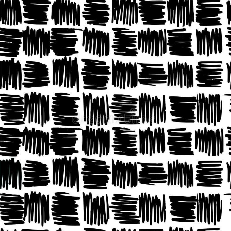 Modèle sans couture carré tiré par la main noir et blanc illustration libre de droits