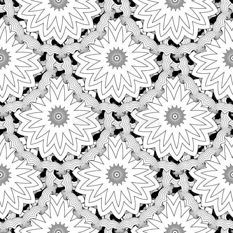 Modèle sans couture carrelé noir et blanc de vecteur floral Fond monochrome ornemental Cru autour des mandalas ethniques Résumé illustration libre de droits