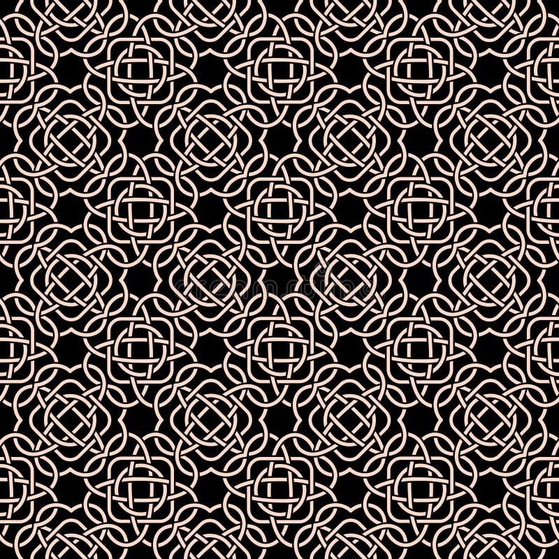 Modèle sans couture celtique dans le style médiéval Embrouillement blanc sur le noir illustration de vecteur