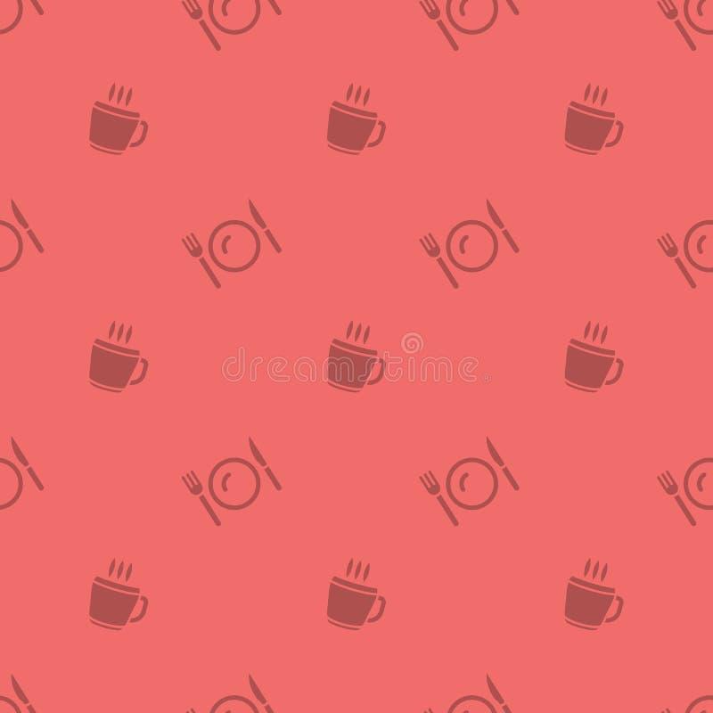 Modèle sans couture chaud de silhouette de tasse et de couverts de boissons de temps de repas illustration de vecteur