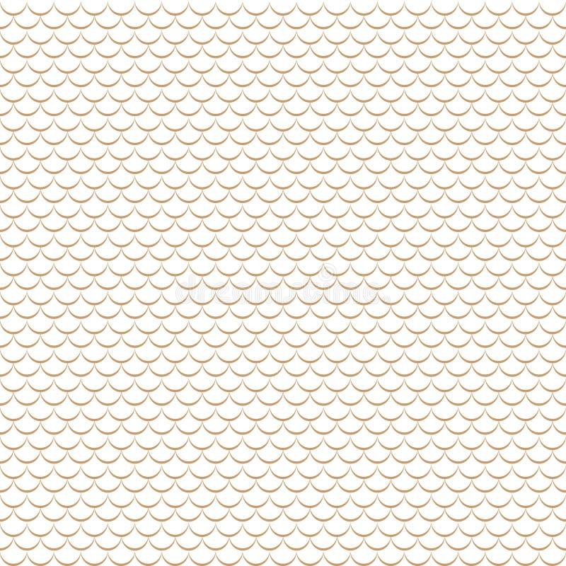 Modèle sans couture chinois géométrique d'échelles de poissons de vecteur Fond onduleux de tuile de toit illustration stock