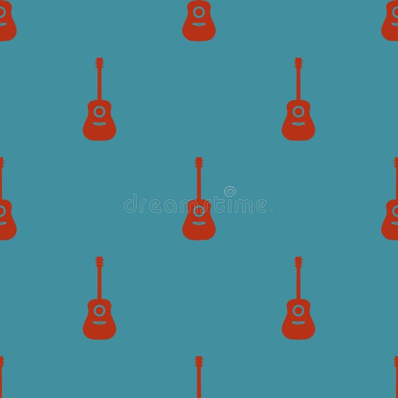 Modèle sans couture coloré avec des guitares sur une illustration bleue de vecteur de fond illustration libre de droits