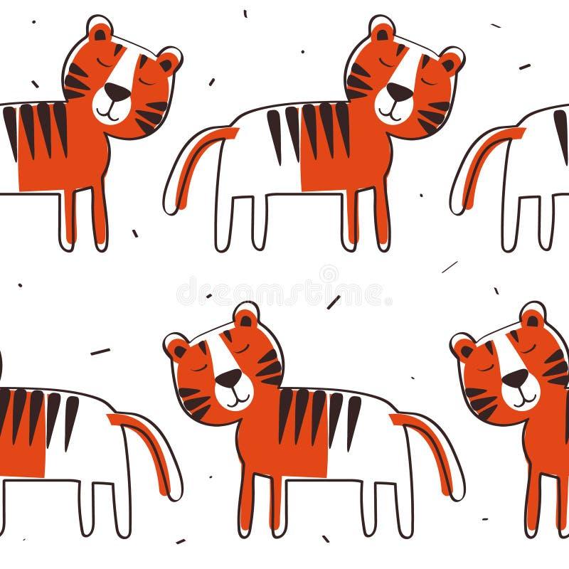 Modèle sans couture coloré avec des tigres Fond mignon d?coratif avec des animaux illustration de vecteur