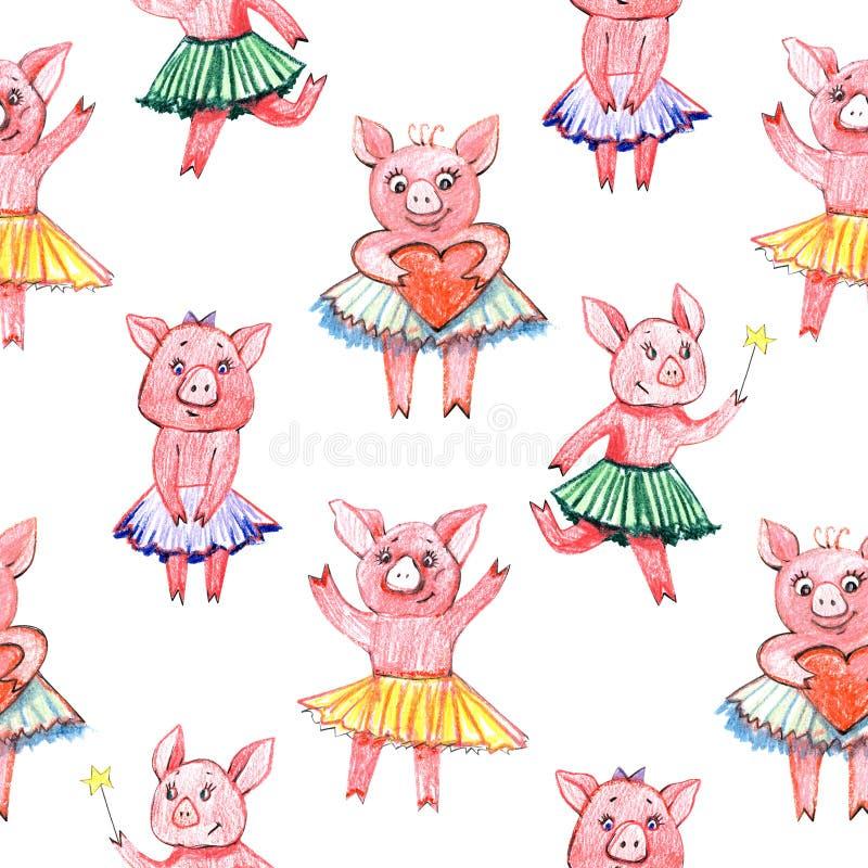 Modèle sans couture coloré avec le porc, illustration en pastel d'impression de tissu de textile illustration libre de droits