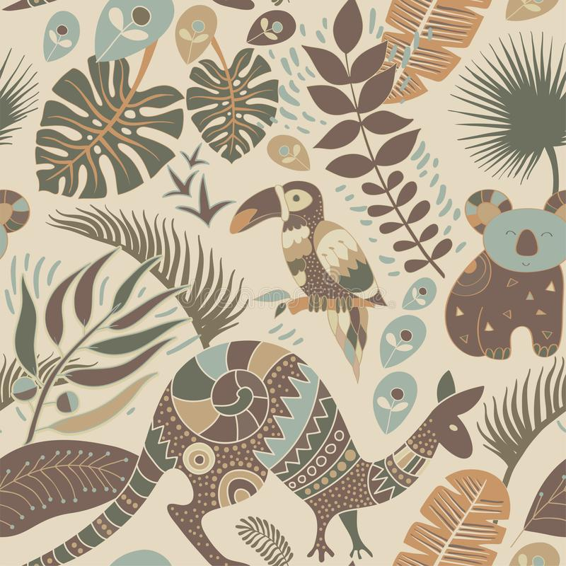Modèle sans couture coloré avec les animaux australiens Contexte indigène décoratif illustration libre de droits