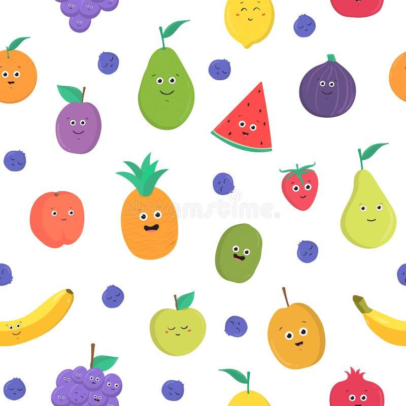 Modèle sans couture coloré avec les fruits tropicaux et les baies frais mûrs drôles avec les visages de sourire heureux sur le fo illustration de vecteur