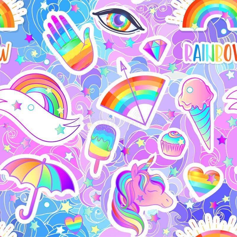 Modèle sans couture coloré d'arc-en-ciel : sucreries, bonbons, crème glacée, licorne, parapluie, main Illustration de vecteur Aut illustration libre de droits