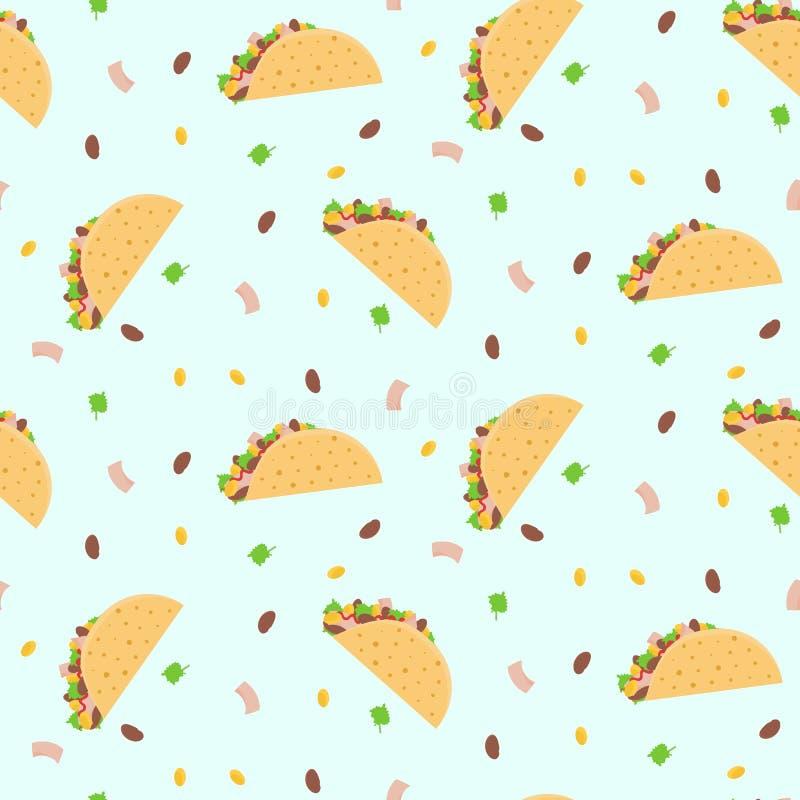Modèle sans couture coloré de bande dessinée mignonne avec le haricot mexicain de tacos, de maïs, de laitue et nain illustration libre de droits