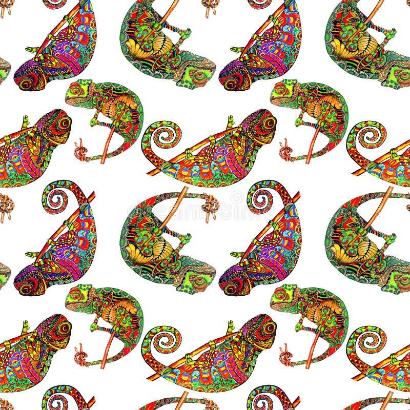 Modèle sans couture coloré de caméléon de zentangle Animal sauvage exotique de griffonnage Lizzard abstrait image de reptile d'is illustration libre de droits
