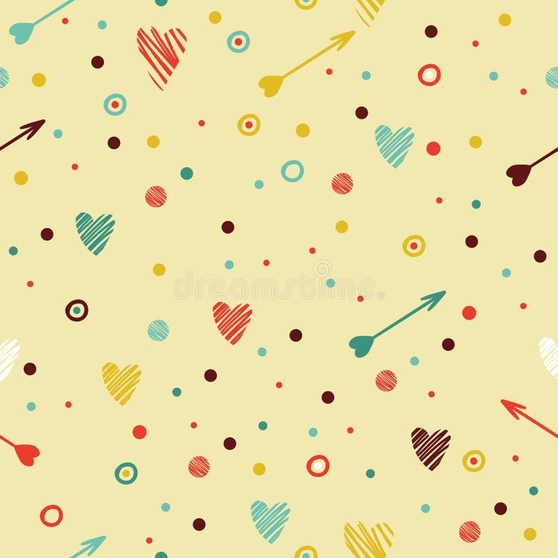 Modèle sans couture coloré de fête avec le coeur et illustration stock