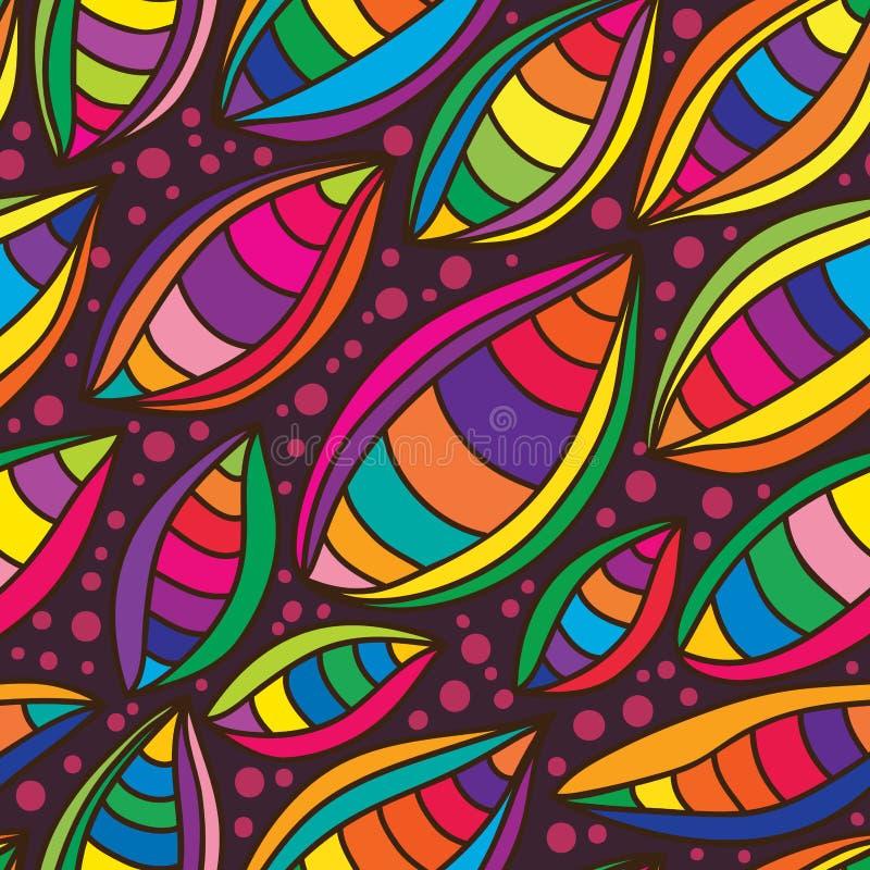 Modèle sans couture coloré de feuille illustration stock