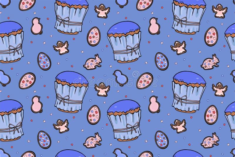 Modèle sans couture coloré de gâteaux de Pâques illustration stock